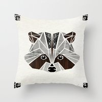 raccoon Throw Pillows featuring raccoon! by Manoou