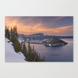 Wizard Island in Crater Lake in Oregon, USA at sunset Canvas Print