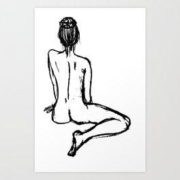 charcoal naked ballerina minimalistic line art Art Print