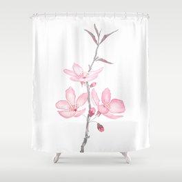 pink cherry blossom macro 2018 Shower Curtain