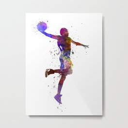 basketball player one hand slam dunk silhouette Metal Print