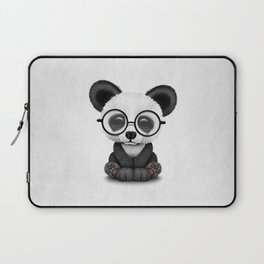 Cute Panda Bear Cub with Eye Glasses Laptop Sleeve