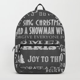 Christmas Chalk Board Typography Text Backpack