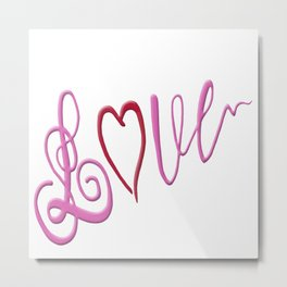 Love Text Metal Print
