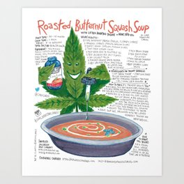 Roasted Butternut Squash Soup with lifted honeyed yogurt with hemp seed oil Art Print