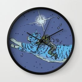 Space Cat With Rider Wall Clock
