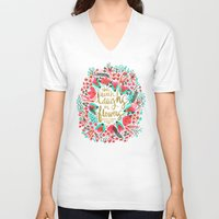 earth V-neck T-shirts featuring The Earth Laughs in Flowers – Pink & Gold by Cat Coquillette