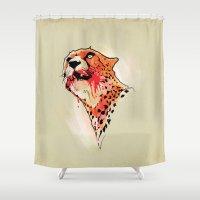 cheetah Shower Curtains featuring CHEETAH by KUI29