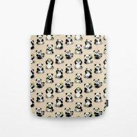pandas Tote Bags featuring Pandas by Olya Yang