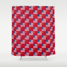 Mix of flag : usa and China Shower Curtain
