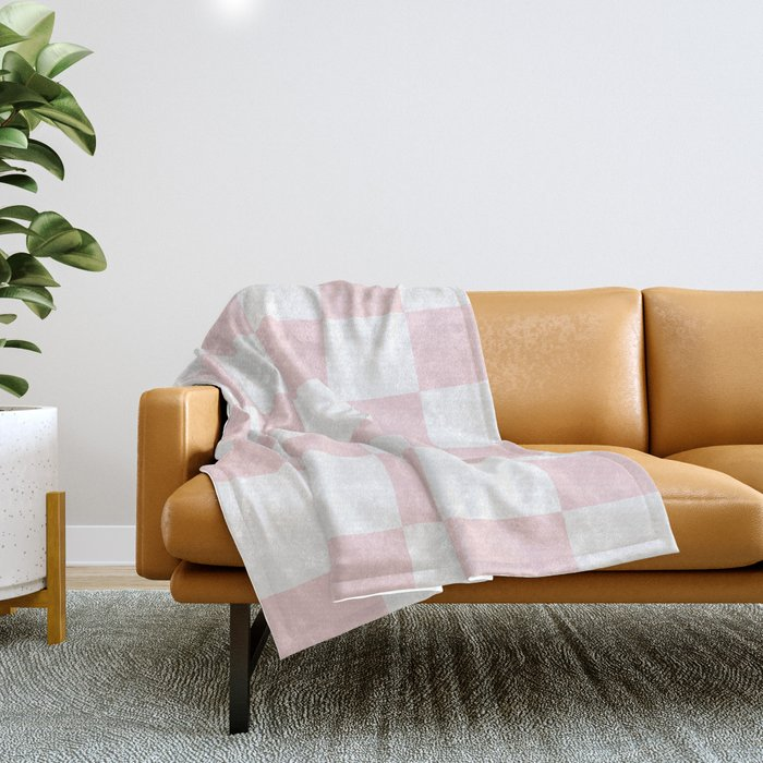 Large Checkered - White and Light Pink Throw Blanket
