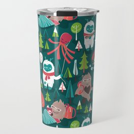 Besties // green background white Yeti brown Bigfoot aqua yellow green and teal pine trees red and coral details Travel Mug
