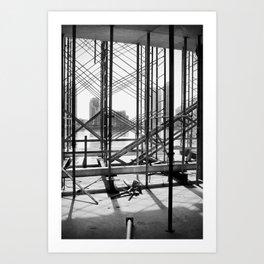 Water View Through Scaffolding in Miami Art Print