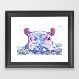Happy Hippo Watercolor Painting Framed Art Print