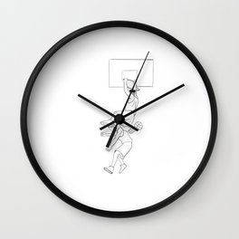 A Swing and a Dunk Black and White Digital Sketch Wall Clock