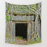 tomb raider Wall Tapestries featuring Tomb Raider Doorway Cambodia by Brian Raggatt
