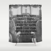 da vinci Shower Curtains featuring Flight Da Vinci by KimberosePhotography