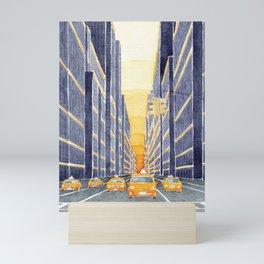 NYC, yellow cabs Mini Art Print