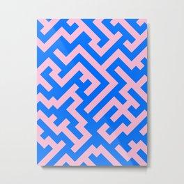 Cotton Candy Pink and Brandeis Blue Diagonal Labyrinth Metal Print