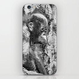 AnimalArtBW_OrangUtan_20170907_by_JAMColorsSpecial iPhone Skin
