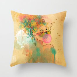 Bubble Gum Funky Girl Throw Pillow