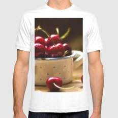 Red Cherries on the table Mens Fitted Tee White MEDIUM