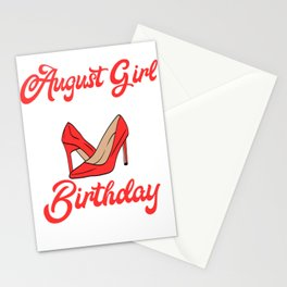 """Birthday Shirt """"August Girl Stepping Into My Birthday Like A Boss"""" T-shirt Design Red Heel Shoe Stationery Cards"""