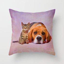 Beagle dog and kitten digital art Throw Pillow