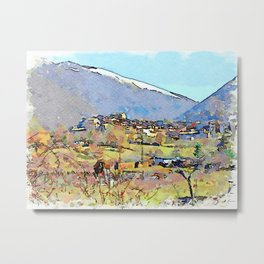 Camerata Nuova: landscape with village and mountains Metal Print