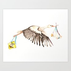 Baby on Bird Art Print