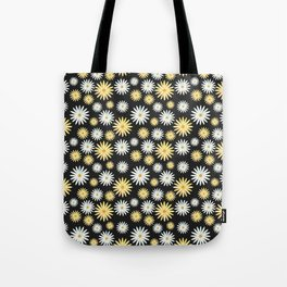 Watecolor Daisies Pattern | Black Tote Bag