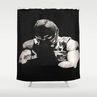 bane Shower Curtains featuring Bane by a vitruvian man