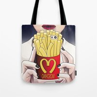 french fries Tote Bags featuring I LOVE FRENCH FRIES by Analy Diego