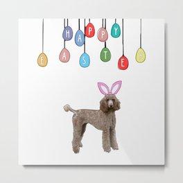 Happy Easter Bunny - Poodle dog Metal Print
