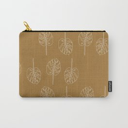 Minimal Mustard Monstera Pattern Carry-All Pouch