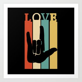 ASL Love Vintage Retro design Sign Language design Art Print