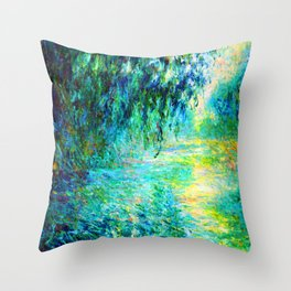 Claude Monet Morning on the Seine Throw Pillow