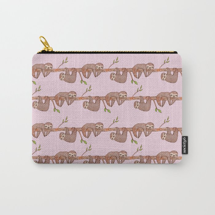 Lazy Baby Sloth Pattern in Pink Carry-All Pouch