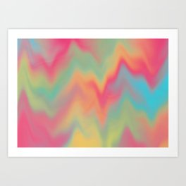 Abstract Colorful Gradient Rainbow Pattern Design Beautiful Modern Popular Trending Waves Elegant Art Print