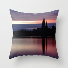 Pink Sky Over The Lichfield Cathedral Throw Pillow