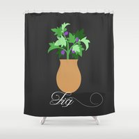 fig Shower Curtains featuring fig by Little Lost Garden