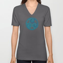 St. Patrick's Day Celtic Blue Mandala #5 Unisex V-Neck