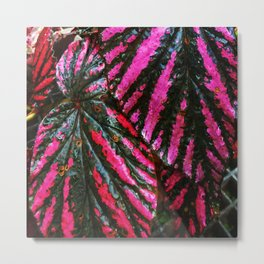 Red and Green Leaf Pattern Metal Print