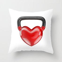 Kettlebell heart vinyl / 3D render of heavy heart shaped kettlebell Throw Pillow