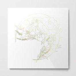 Waning Florals (Gold) Metal Print