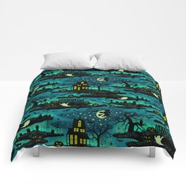 Halloween Night - Fox Fire Green Comforters
