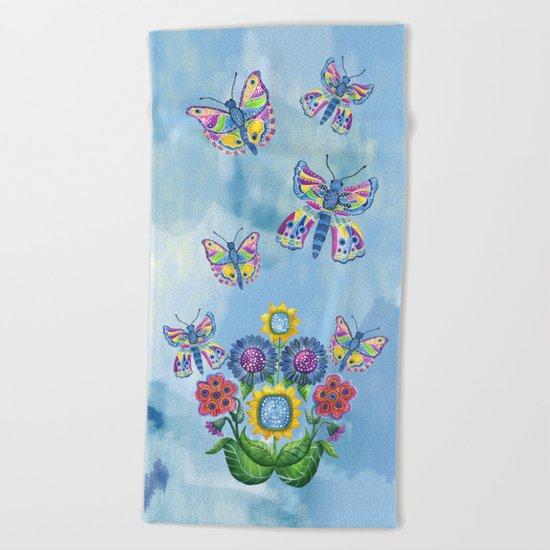 Butterflies and Flowers Beach Towel