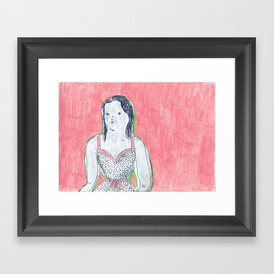 the girl is waiting Framed Art Print