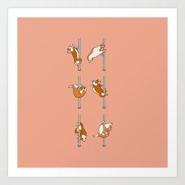 Corgi Pole Dancing Club Art Print