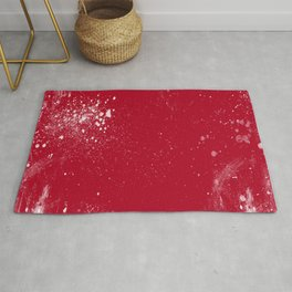 red dark raspberry white splat splatter splash colour palette Rug